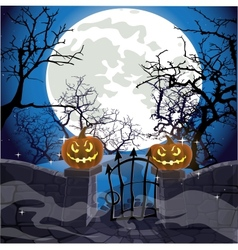 Halloween background fence with a gate vector image