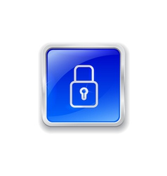 Lock icon on blue button vector image vector image