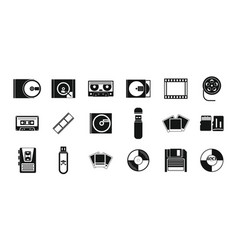 Storage information icon set simple style vector