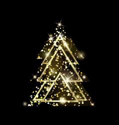 a geometric christmas tree golden glitter vector image