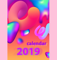 abstract minimal calendar design for 2019 vector image