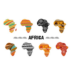 africa patterned map collection logo design vector image