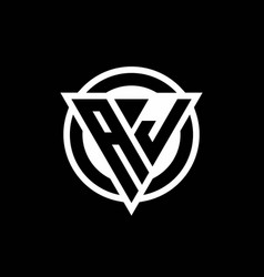 Aj logo with negative space triangle shape vector