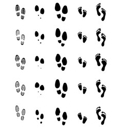 Black prints shoes and feet vector