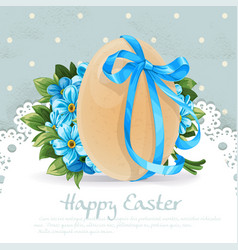 blue vintage easter banner with egg tied a vector image