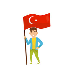 Boy holding national flag of turkey design vector