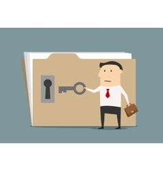 Businessman opening confident information folder vector