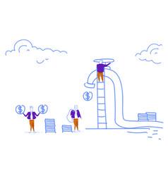 Businessmen climbing ladder unscrew cash crane vector