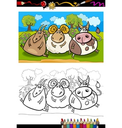 cartoon farm animals coloring page vector image