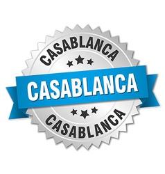 Casablanca round silver badge with blue ribbon vector