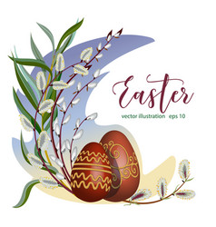Celebratory easter wreath decoration with eggs and vector