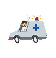 Character man drive ambulance and smartphone vector
