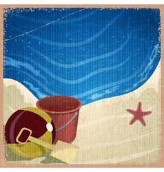 Children toys on background sea shore vector