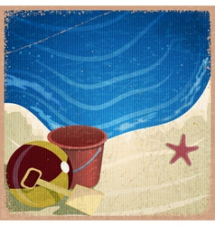 Childrens toys on the background of the sea shore vector