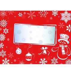 Christmas greeting card in red hues vector image