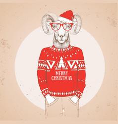 Christmas hipster fashion animal ram or mouflon vector