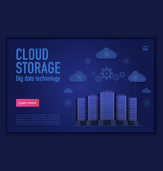 cloud storage technology landing page vector image