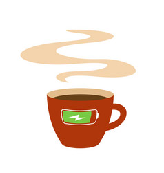 coffee cup with charging battery symbol vector image