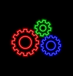 Cogwheel arrow neon sign bright glowing symbol on vector