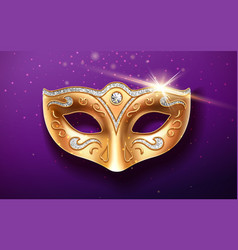 Colombina golden mask decorated with diamonds vector
