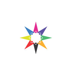 colorful people team star shape logo icon vector image