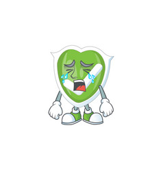 Crying checkmark shield with cartoon character vector