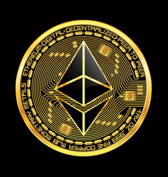 Crypto currency ethereum golden symbol vector