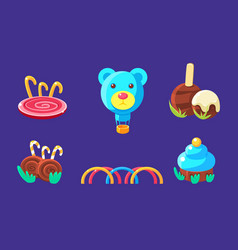 Cute candy land gaming assets set fairytale vector