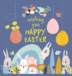 cute cartoon bunny with easter eggs and flowers vector image