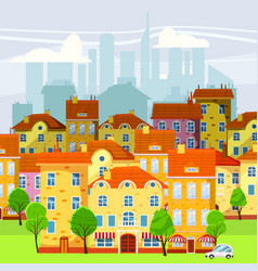 cute cityscape beautiful houses old and modern vector image