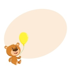 Cute retro style teddy bear character sitting and vector image