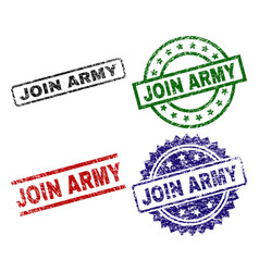 Damaged textured join army seal stamps vector