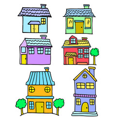 doodle of house style colorful set vector image