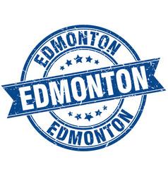 Edmonton blue round grunge vintage ribbon stamp vector