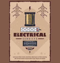 Electrical service socket and reel retro poster vector