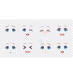 Emotions blue eyes of anime manga girls vector