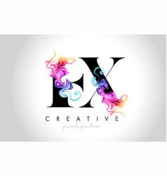 Ex vibrant creative leter logo design with vector