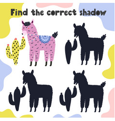 Find correct shadow game for kids with a cute vector