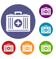 First aid icons set vector