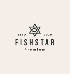 fish star hipster vintage logo icon vector image