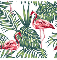 flamingo green leaves white background seamless vector image