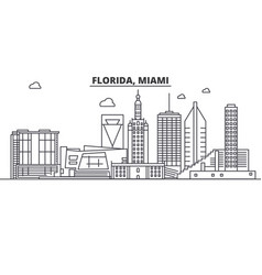 Florida miami architecture line skyline vector