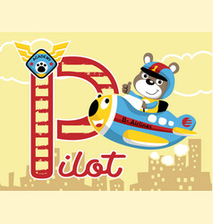 flying with little pilot on funny plane cartoon vector image