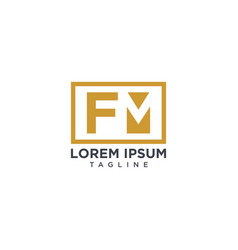 fm negative space logo vector image