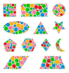 Geometric shapes made from dots isolated on white vector