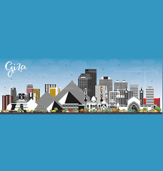 Giza egypt city skyline with gray buildings and vector