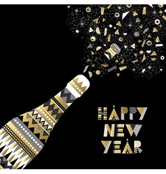 Gold New Year drink bottle fancy party celebration vector