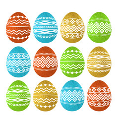 golden color easter eggs isolated on white vector image