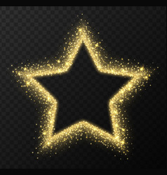 Golden star frame with sparkles and flares vector