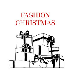 greeting card with inscription fashion christmas vector image